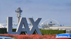 LAX Airport sign in Los Angeles Stock Footage