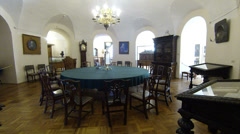 Round table for meetings. Kunstkamera. Saint-Petersburg Stock Footage
