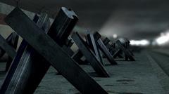 4K Berlin Wall Tank Barriers DOF 1 h264 Stock Footage