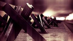4K Berlin Wall Tank Barriers DOF 2 h264 Stock Footage