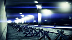 4K Berlin Wall Towers and Tank Barriers DOF 3 h264 Stock Footage
