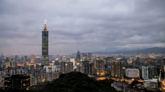 HD sunset time lapse of the Taipei cityscape in Taiwan Stock Footage