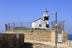The Ancient and Biblical City of Acre Lighthouse Stock Photos