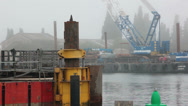 Stock Video Footage of industrial docks in the fog