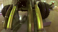 Artillery shells.  The large caliber. Brass sleeves. Stock Footage