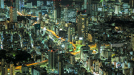Stock Video Footage of Time lapse zooming out of a Tokyo cityscape at night