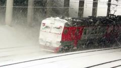 Passenger train in winter Stock Footage