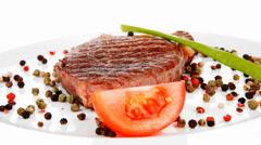 main entree : roasted lamb steak - stock footage