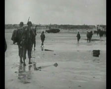 WW2 - 1944 - Operation Overlord D-Day - Beachhead Vehicles and Infantry 03 Stock Footage