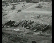 WW2 - 1944 - Operation Overlord D-Day - Beachhead Overview 06 Stock Footage