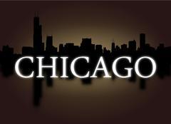 Chicago skyline heijastuu dramaattinen taivas ja teksti kuva Piirros