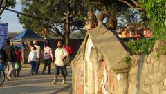 Macaque monkeys playing in the Unesco heritage site of Swayambhunath Stock Footage