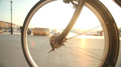 Man cycling on road in Rovinj, Croatia. Stock Footage