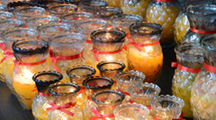 Glass candle inside Stock Footage