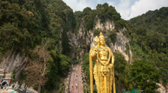 Lord Murugan Hindu Deity Statue at Batu Caves in KL Time Lapse Stock Footage