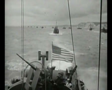 WW2 - 1944 - Operation Overlord D-Day - US Invasion Army Crossing Channel 04 Stock Footage