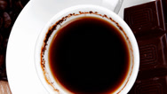 Stock Video Footage of black coffe with dark chocolate