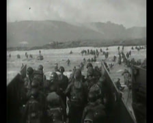 WW2 - 1944 - Operation Overlord D-Day - US soldiers Attacking Beaches 04 - stock footage