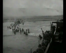 Stock Video Footage of WW2 - 1944 - Operation Overlord D-Day - US soldiers Attacking Beaches 08