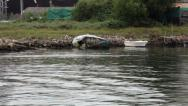Stock Video Footage of damaged beached boat