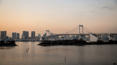HD sunset time lapse of the Rainbow bridge in odaiba, Tokyo, Japan - stock footage