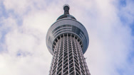 Stock Video Footage of Time lapse of clouds passing over the Tokyo sky tree