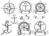 Stock Illustration of nautical emblems with different seafaring design elements