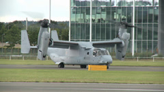 Stock Video Footage of Bell Boeing V-22 Osprey Medium Wide Shot