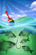 Fishing in deep blue water lake Stock Illustration