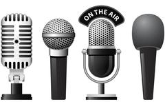 retro and modern microphones - stock illustration