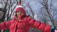 Child Spinning in Forest, Little Girl, Kid Playing in Nature, Children in Winter Stock Footage