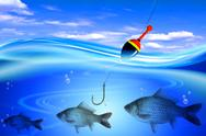 Stock Illustration of fishing in deep blue water lake