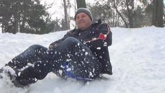 Adult Man Sledding on Child, Kid Sledge, Sled in Park, Winter Games in Snow Stock Footage