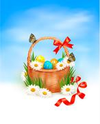Easter background with easter eggs with basket in the grass. vector Stock Illustration