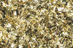 Close up of wood chips, pine needle and organic garden mulch - stock photo