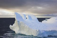 Icebergs floating on the antarctic southern oceans. eroded by wind and weathe Stock Photos