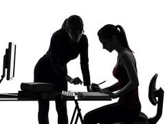 teacher woman mother teenager girl studying silhouette - stock photo
