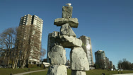 Stock Video Footage of English Bay Inukshuk and Towers, Vancouver