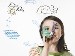 a young girl drawing the water evaporation cycle on a clear see through surfa - stock photo
