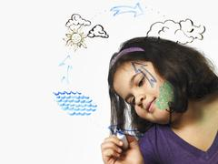 A young girl drawing the water evaporation cycle on a clear see through surfa Stock Photos