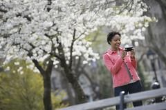 outdoors in the city in spring time. new york city park. white blossom on the - stock photo