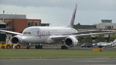 Qatar Airways Boeing 787 Dreamliner Parking Stock Footage