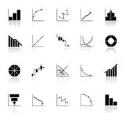 diagram and graph icons with reflect on white background - stock illustration