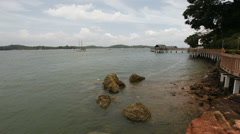 Singapore East Coast Beach with Clouds Time Lapse at Changi Boardwalk Stock Footage
