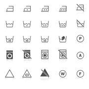 Laundry icons with reflect on white background Stock Illustration