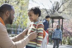 A new york city park in the spring. a family, parents and two boys spending t Stock Photos