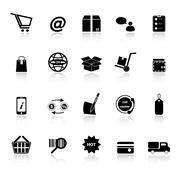 ecommerce icons with reflect on white background - stock illustration