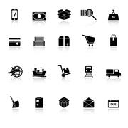 shipment icons with reflect on white background - stock illustration