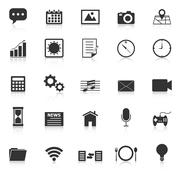 Application icons with reflect on white background Stock Illustration