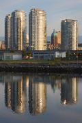 Tower Reflections, False Creek, Vancouver - stock photo